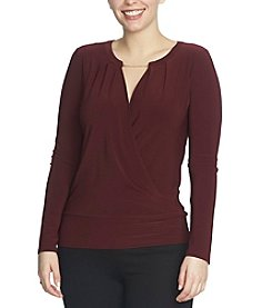 Chaus Banded Wrap Top With Neck Trim