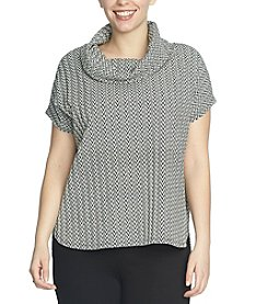 Chaus Herringbone Cowl Neck Top