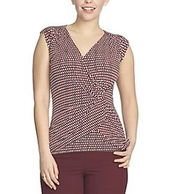 Chaus Ruched Optic Check Wrap Top