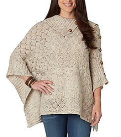 Democracy Button Split Neck Poncho
