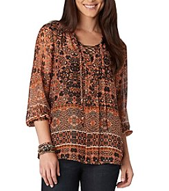 Democracy Lace Up Peasant Top
