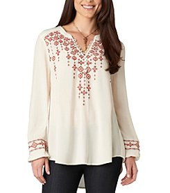 Democracy Embroidered V-Neck Top