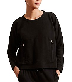 Lauren Active Zip-Pocket Crew Neck Sweatshirt