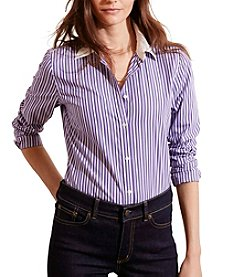 Lauren Ralph Lauren® Petites' Striped Stretch Cotton Shirt