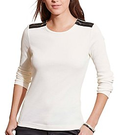 Lauren Ralph Lauren® Petites' Cotton Zip-Shoulder Top