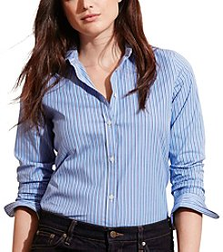 Lauren Ralph Lauren® Plus Size Striped Stretch Cotton Shirt