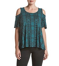 Bobeau® Printed Cold Shoulder Top