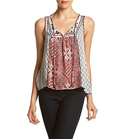 Jolt® Crochet Back Printed Woven Tank Top