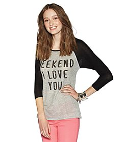 Living Doll Three-Quarter Sleeve Scoopneck Raglan Top