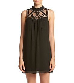 A. Byer Mock Neck Lattice Yoke Shift Dress