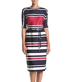 Madison Leigh® Stripe Tie Waist Shift Dress