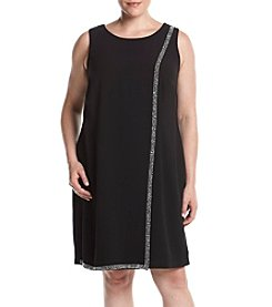 S.L. Fashions Plus Size Crepe Overlay Shift Dress
