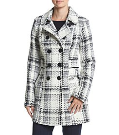 A. Byer Double Breasted Reverse Plaid Faux Woold Jacket