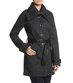 A. Byer Double Breast Fleece Trench Jacket With Faux Leather Belt