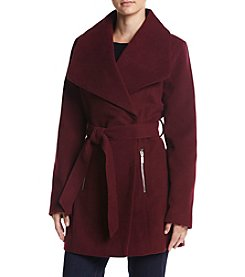 A. Byer Faux Wool Belted Wrap Coat With Zip Pockets