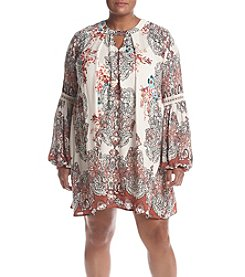 Skylar & Jade™ Plus Size Printed Keyhole Peasant Dress