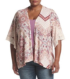 Eyeshadow® Plus Size Printed Cardigan With Lace Trim