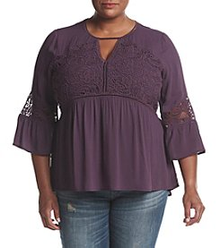 Eyeshadow® Plus Size Textured Top With Lace Detail