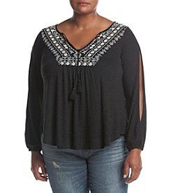 Jessica Simpson Plus Size Frida Crochet Peasant Top