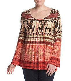 Oneworld® Plus Size Printed Notch Neck Peasant Top