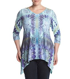 Oneworld® Plus Size Mixed Print Sparkle Top