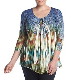 Oneworld® Plus Size Printed Scoop Neck Top