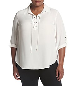 Jones New York® Plus Size High-Low Lace Up Top