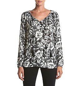 Jones New York® Sketched Print Peasant Top