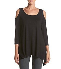 Fever™ Solid Cold Shoulder Top