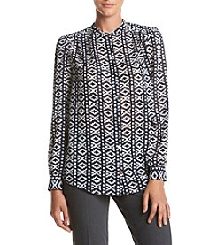 Jones New York® Printed One Button Top