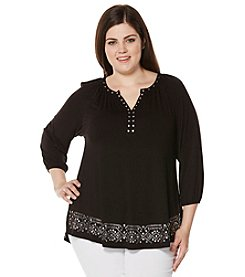 Rafaella® Plus Size Grommet Detailed Top
