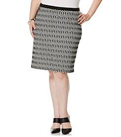 Rafaella® Plus Size Geo Jacquard Ponte Skirt