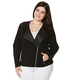 Rafaella® Plus Size Ponte Moto Jacket With Faux Leather Trim