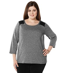 Rafaella® Plus Size Solid Zip Shoulder Top