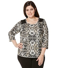 Rafaella® Plus Size Multi Print Zip Shoulder Top