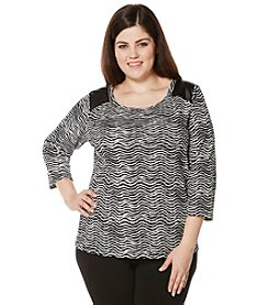 Rafaella® Plus Size Wave Print Zip Shoulder Top
