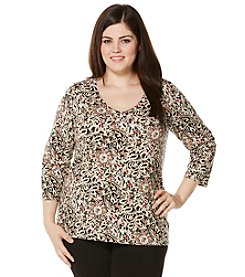 Rafaella® Plus Size Empirical Elegance Print V-Neck Top