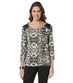 Rafaella® Petites' Multi Print Zip Shoulder Top