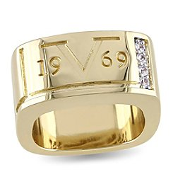 V1969 ITALIA Men's White Sapphire Logo Mark Ring