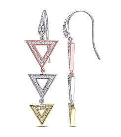 V1969 ITALIA White Cubic Zirconia Geometric Drop Earrings