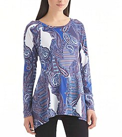 Nine West Jeans® Sentina Paisley Sharkbite Top