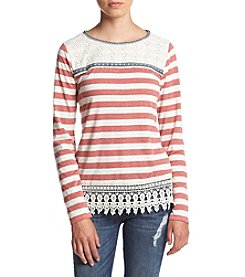 Jolt® Long Sleeve Stripe Knit Top With Eyelet Placket
