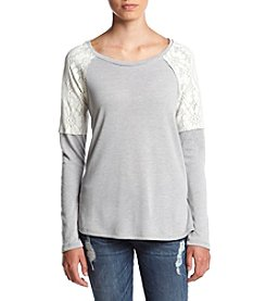 Chance or Fate® Long Sleeve Raglan Tee With Lace Shoulder