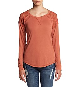 Jolt® Long Sleeve Crochet Shoulder Top