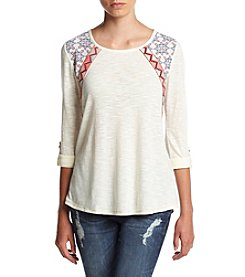 Jolt® Long Roll-Tab Sleeve Printed Woven Back Tee