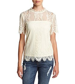 Eyeshadow® Short Sleeve Woven Lace Top