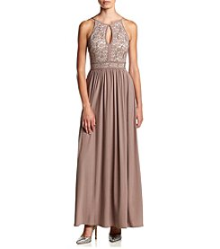 Morgan & Co.® Halter Lace Top Gown