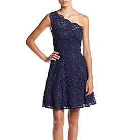 Morgan & Co.® One Shoulder All Over Lace Dress