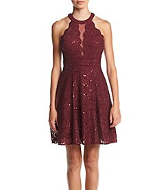 Morgan & Co.® Lace Illusion V-Neck Party Dress
