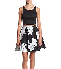 My Michelle® Two-Piece Black Satin Top With Floral Skirt Dress